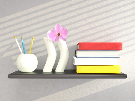 Shelf with vases and books on grey wall. 3D render photo