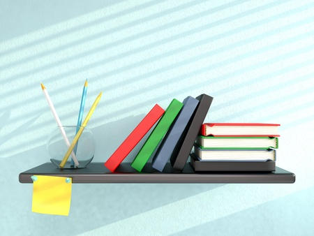 Shelf with books, pencils, and sticky note on blue wall. 3D render photo