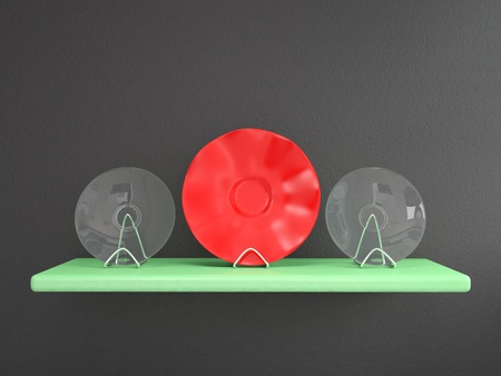 Shelf with plates on grey wall. 3D render photo