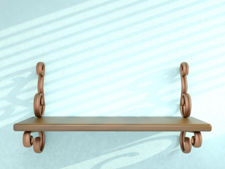 Shelf on blue wall. 3D render