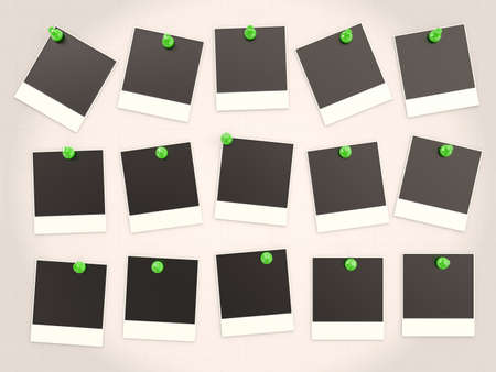 Photo frames pressed green pushpin. 3D background Stock Photo - 12543962