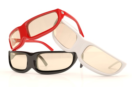 Glasses of diffeet colors : red, white, black. 3D model Stock Photo - 12543943