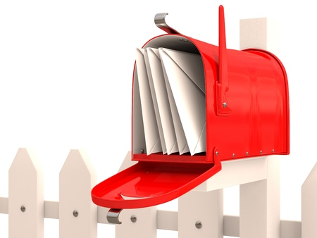 Red mailbox with mail on fence. 3D render photo