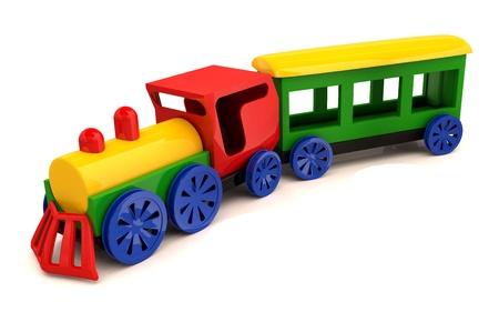 carritos de juguete: Tren de juguete. Modelo 3D aislado en el fondo blanco
