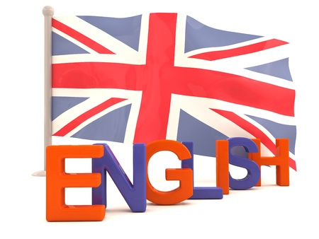 bandiera inglese: Parola inglese con bandiera britannica. Modello 3D Archivio Fotografico