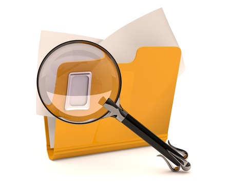 Search concept. Folder with magnifying glass photo