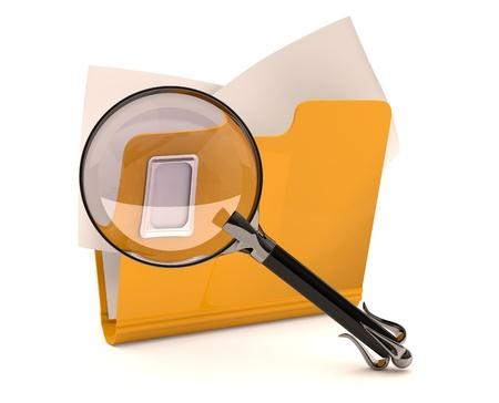 Zoek concept. Folder met vergrootglas