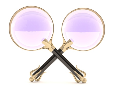 Two magnifying glass vintage. 3D model isolated on white Stock Photo