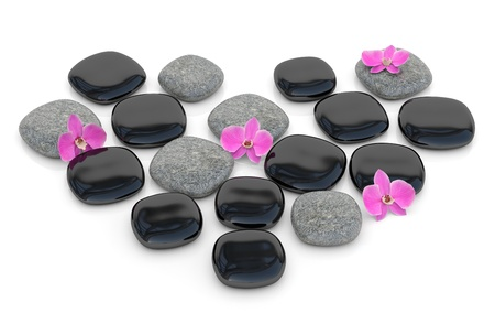 Zen stones with orchid in form of heart. 3D render photo