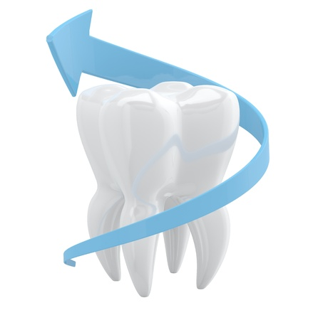 carious: Tooth protection concept. 3D object isolated on white background Stock Photo