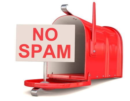 No spam sign and red male box. 3D model  photo
