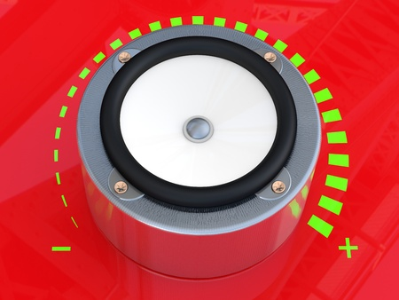 party system: Sound speaker. 3D model on red background Stock Photo