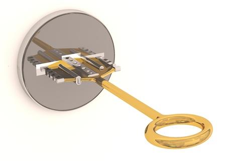 Key in keyhole. 3D model photo