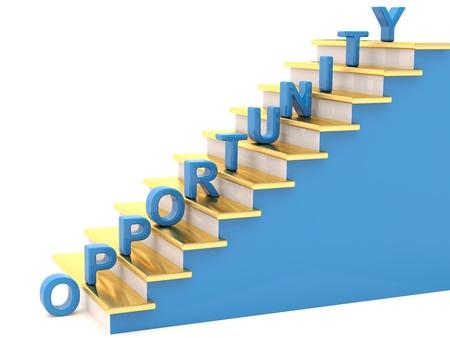 competitividad: Oportunidad concepto. Escaleras en 3D Foto de archivo