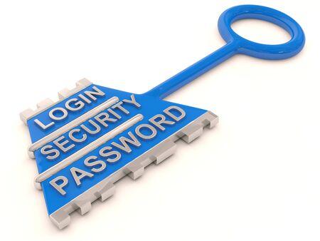 Security key. Business element. 3D model  photo