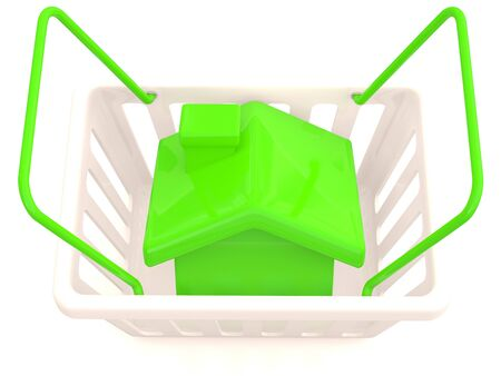 Shopping basket with small house. 3D model Stock Photo