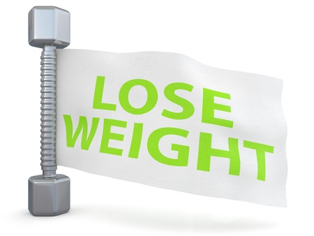 lose balance: Fitness. Dumbbell with Lose weight text Stock Photo