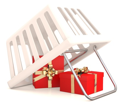 Shopping basket with gift boxes. 3D model photo