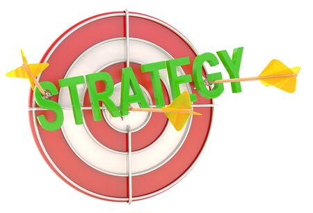 Strategy concept. Dartboard with arrows. 3D model photo