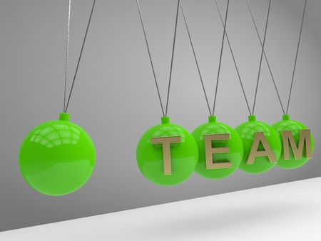 Team concept. Balancing balls Newton's cradle Stock Photo - 12544018