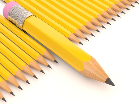 Pencil collection. 3D creative template Stock Photo