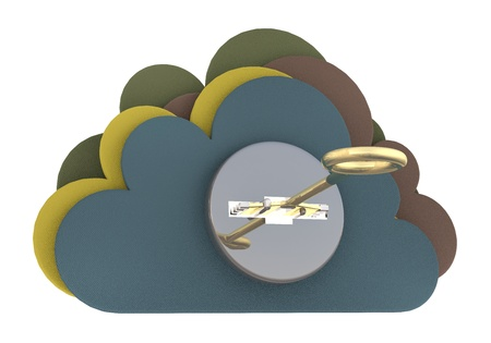 cloud security: Cloud security concept. 3D render