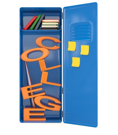 College locker with books. 3D model photo