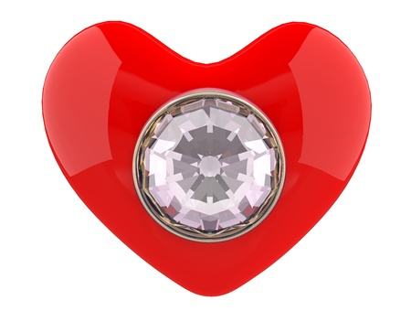 Heart with diamond. 3D model Stock Photo - 12543994