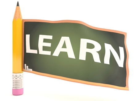 Learn text on blackboard . 3D model photo