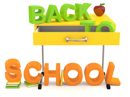Back to school . 3D background Stock Photo