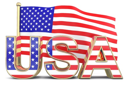 American flag with USA word photo