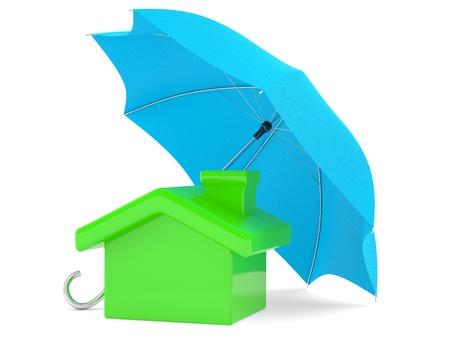 agent de sécurité: Assurance concept. Petite maison avec un parasol Banque d'images
