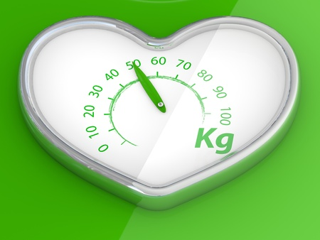 kilograms: Scales  in the form of heart. 3D model on green background