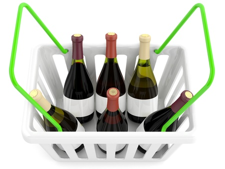 Shopping basket with wine bottles photo
