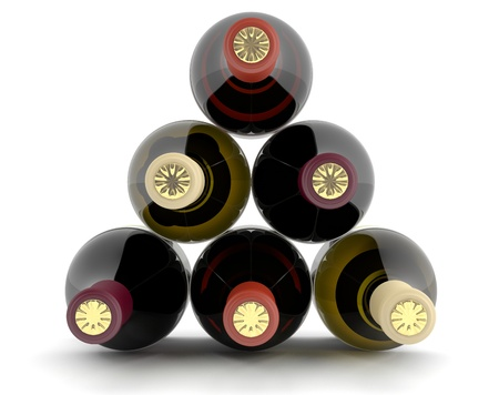 Wine bottles of different colors. 3D set photo