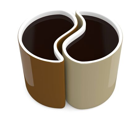 Coffee cups in form of bean. 3D model isolated on white