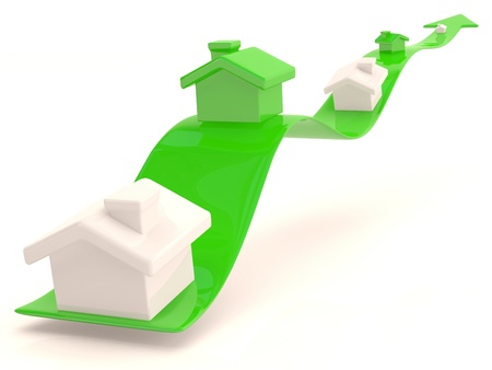 Small house in green arrow. 3D model Stock Photo - 12842376