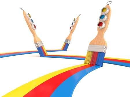 Paintbrush and colorful paint. 3D render Stock Photo - 12842402