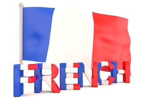 języki: Francuska flaga. Model 3D Zdjęcie Seryjne