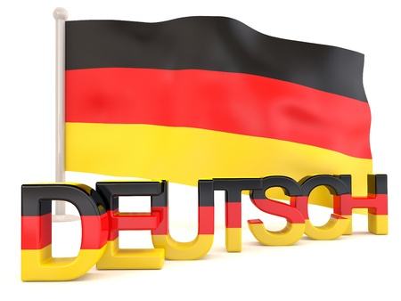 deutsch: German flag with deutsch word. 3D render Stock Photo