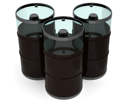 Oil barrels. 3D model isolated on white photo
