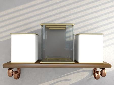 Jar on modern kitchen shelf. 3D render Stock Photo - 12842481