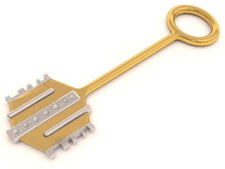 Gold key. 3D model isolated on white photo