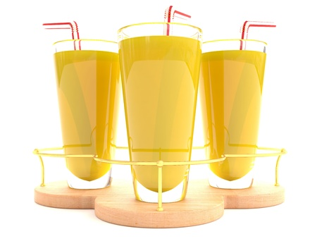Orange juice in glass on white background. 3D model Stock Photo