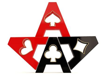 Casino symbol. 3D model isolated on white photo