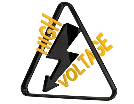 High voltage. 3D sign