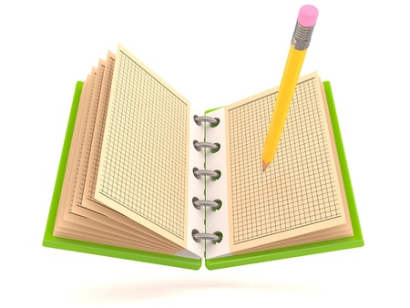 Notebook and Pencil. 3D model photo