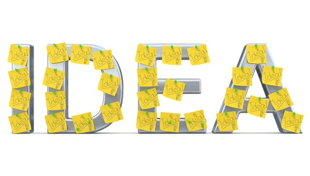 Idea sign with sticky notes. 3D model photo