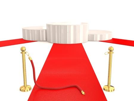 Winner podium with red carpet. 3D model