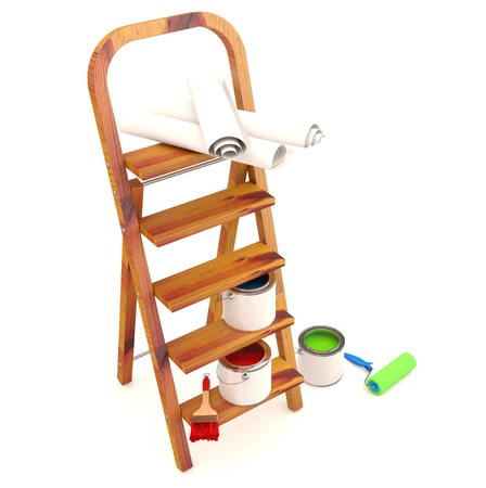 Home Improvement : ladder, paint can and paint roller, brush. 3D model Stock Photo - 12842489
